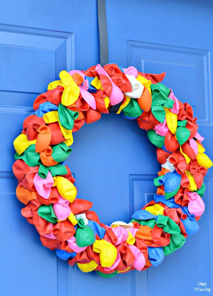 Rainbow Balloon Wreath for Summer