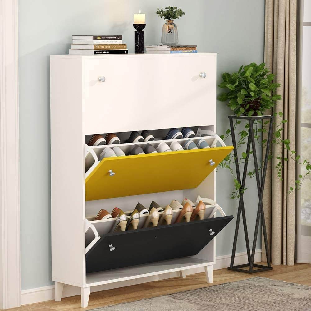 Slim White, Black, and Yellow Shoe Cabinet