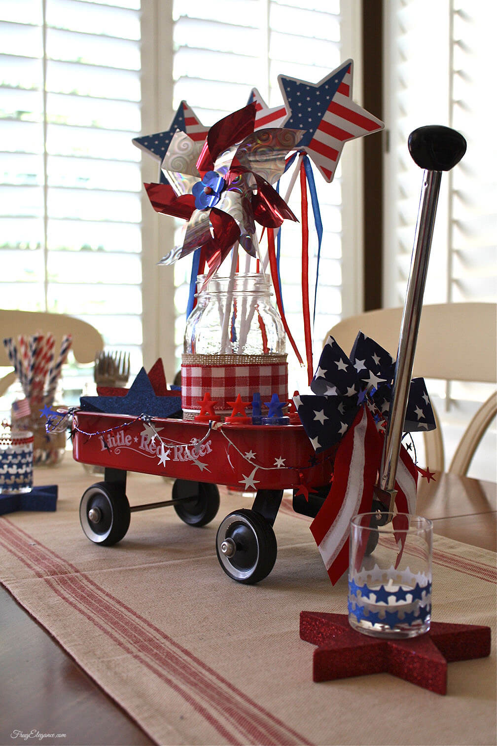 Cute Classic Red Wagon Centerpiece