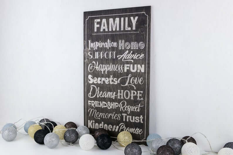 Black Chalkboard Style Family Adjectives Wooden Wall Sign