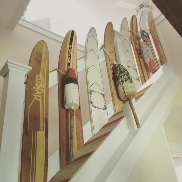 Easy Repurposed Water Skis as Stair Case Spindles