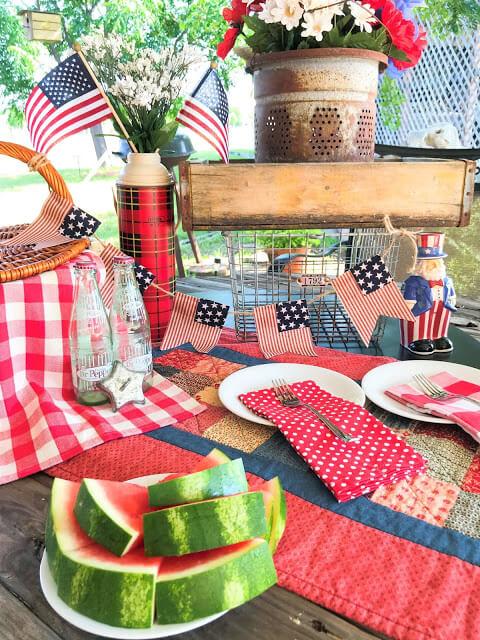 Rustic Nautical American Flag Garland