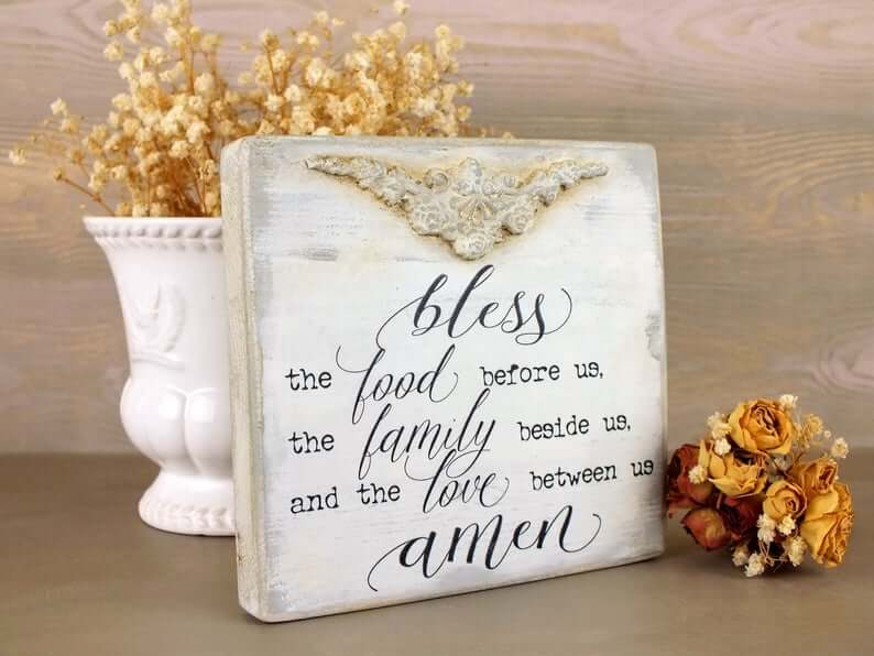 Family Meal Time Prayer Boho Chic White Sign