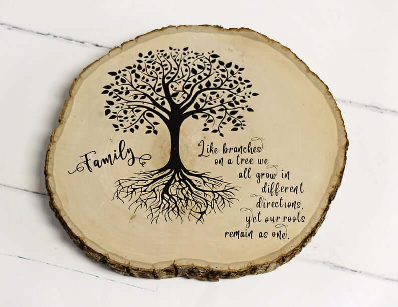 Wood Slice Sign Family Tree Roots Remain as One