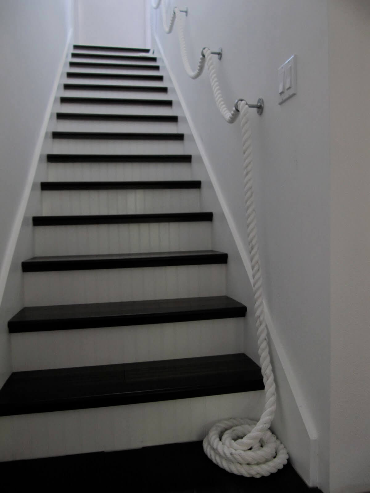 Thick White Sea Rope Stair Rail