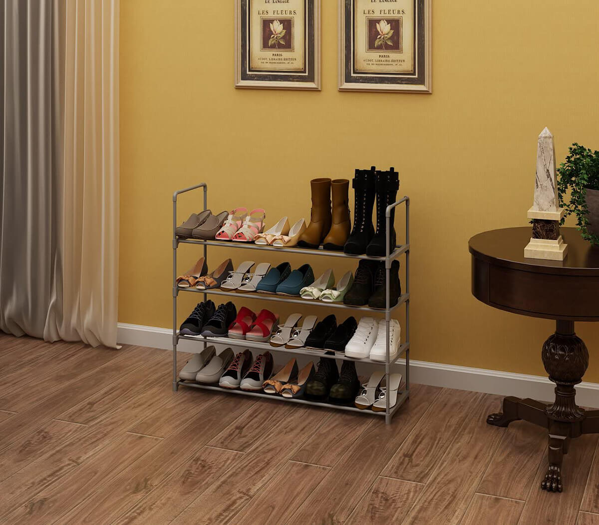 Strong Metal Shoe Rack with Four Tiers