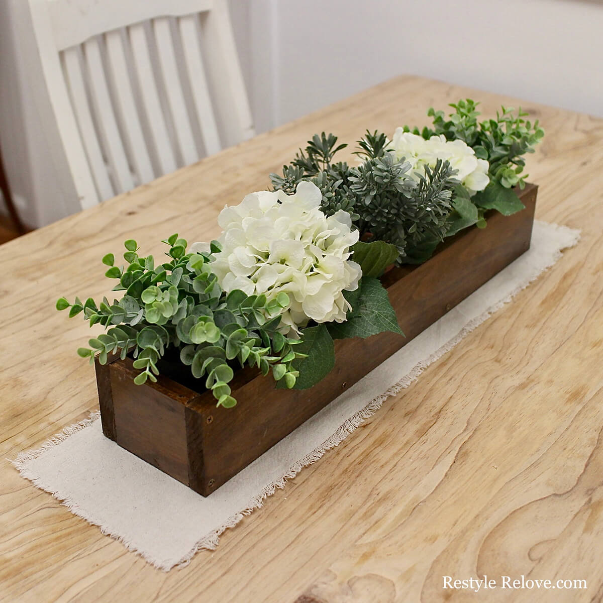 Stained Wood Flower Planter Centerpiece