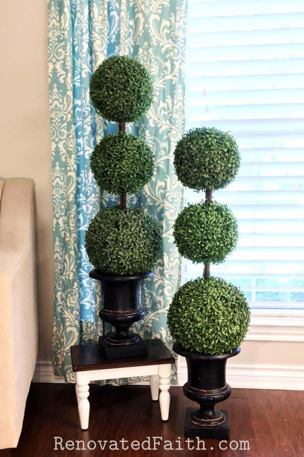 Affordable DIY Topiaries with Artificial Boxwood
