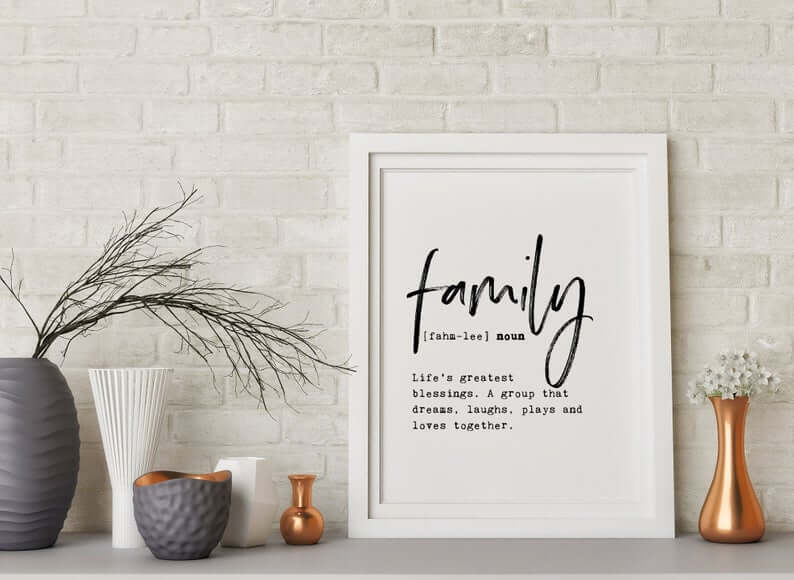 Modern White Family Definition Frame