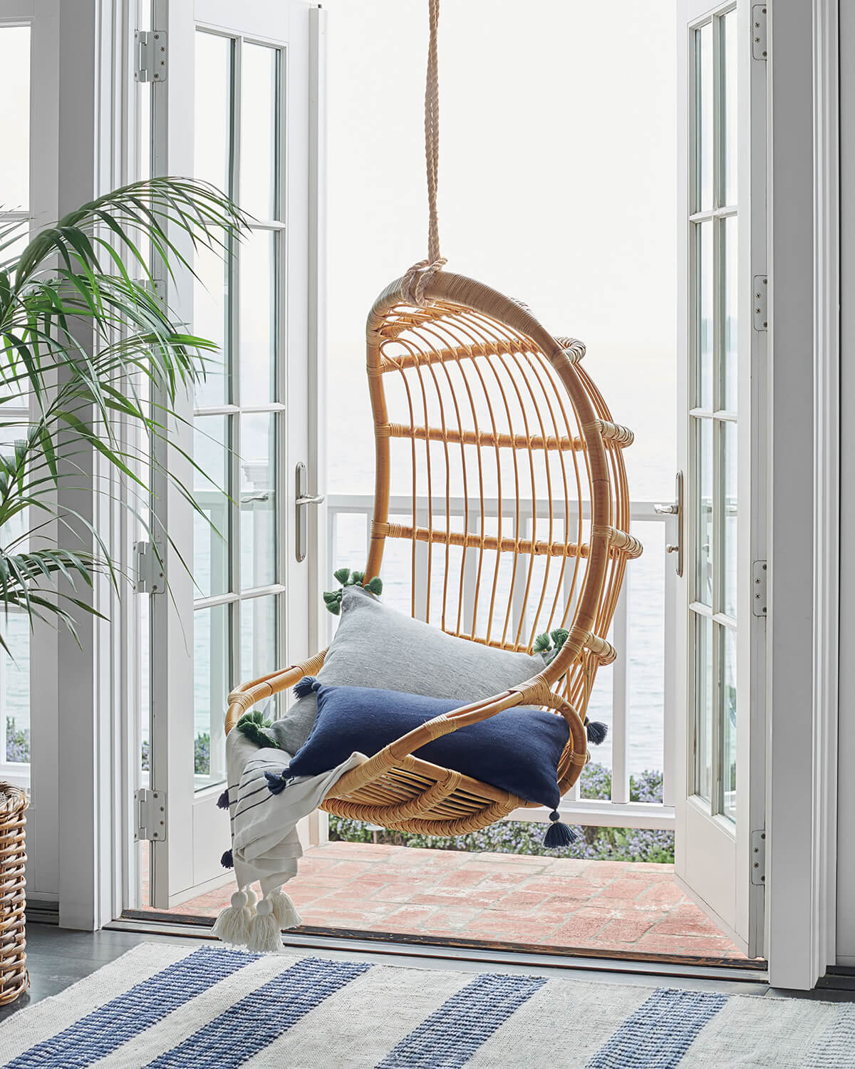 Hanging Tear Drop Tan Wicker Chair