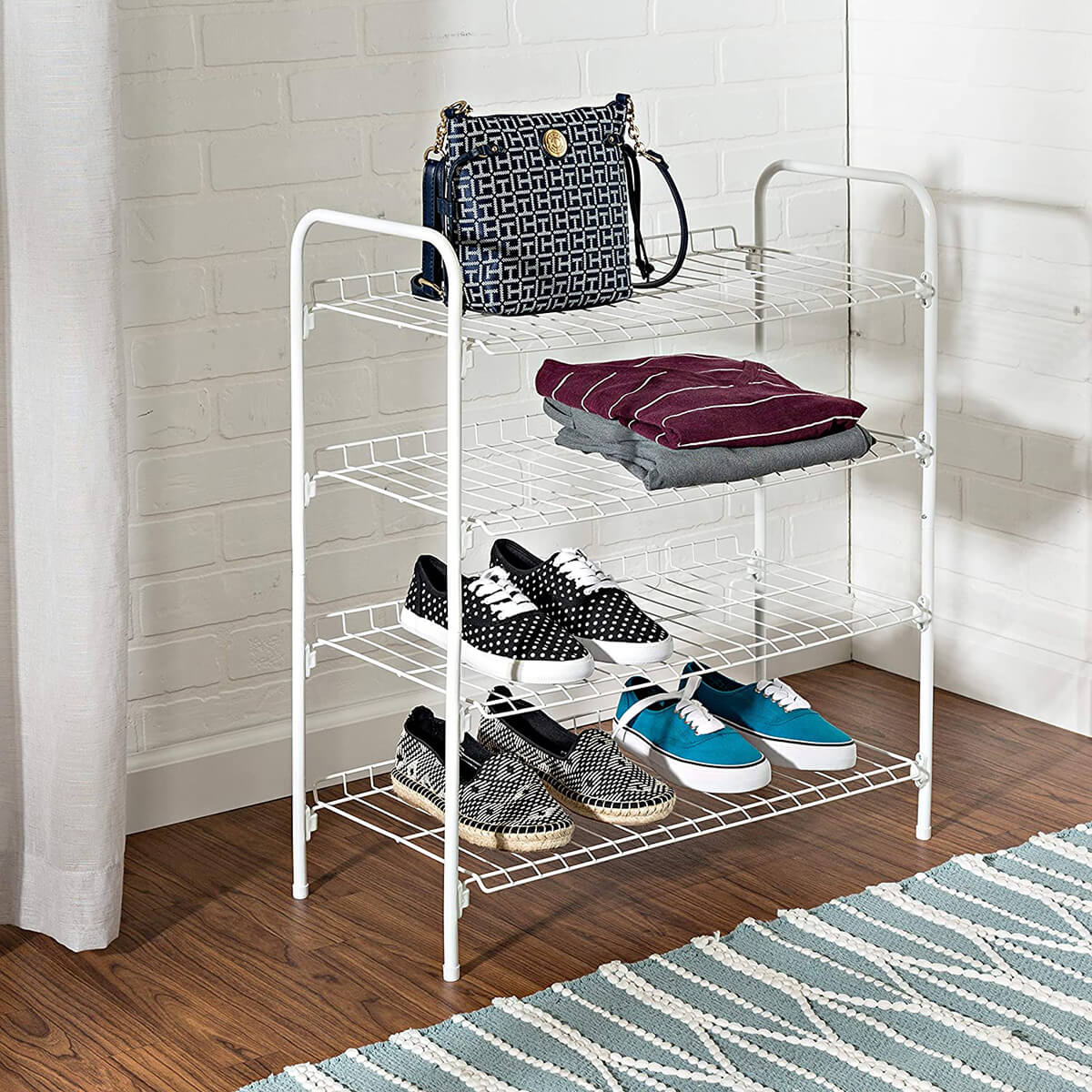 Simple White Metal Wire Shoe Rack