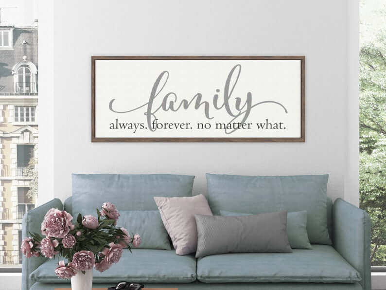 White and Gray Family Forever Sign with Wooden Frame