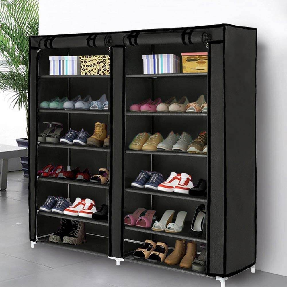 Tall Shoe Organizer with Durable Fabric Cover