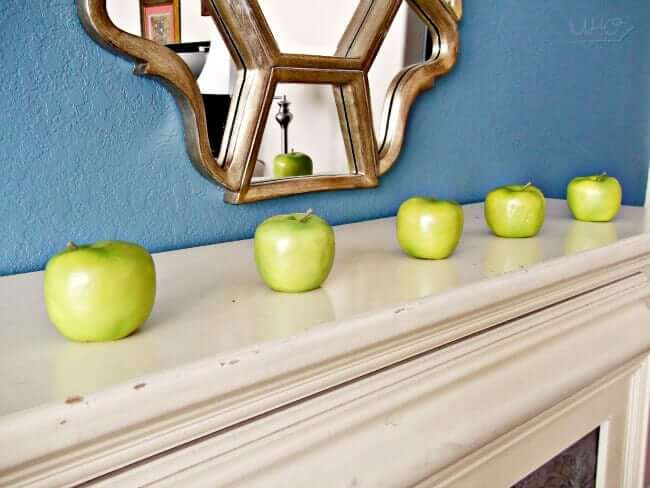 Green Apple Simple Summer Mantle Decor