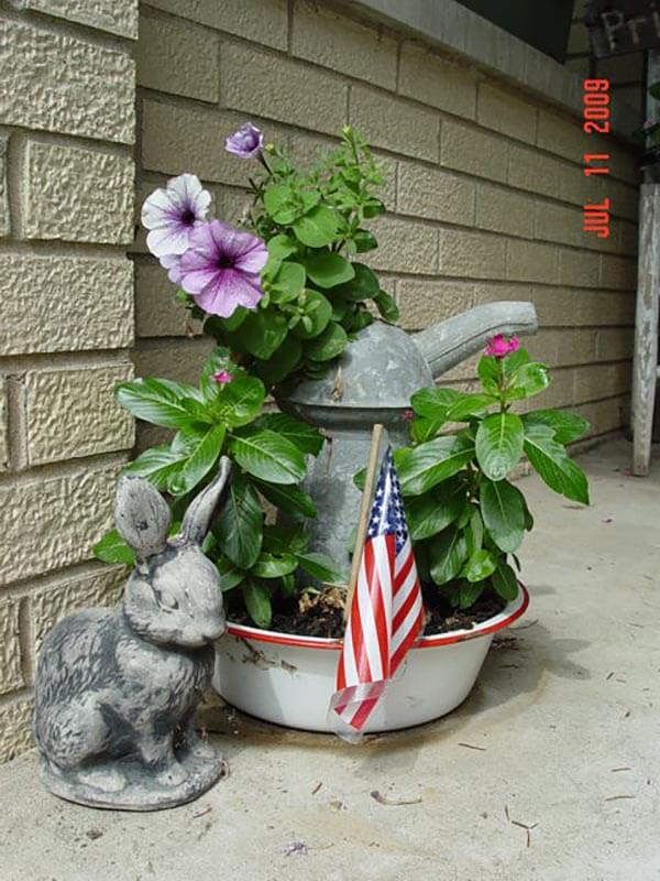 Rustic Vintage Watering Can Planter