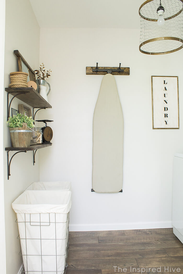 Rustic Laundry Room Redesign with Open Shelving