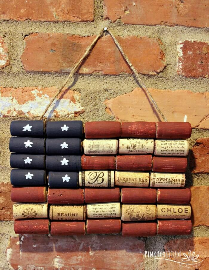 American Flag Made of Upcycled Wine Corks