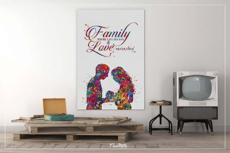 White and Rainbow Colored New Family Large Wall Art