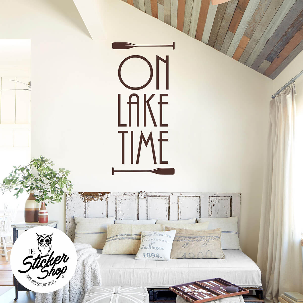 "Vinyl Graphic Oars and ""On Lake Time"" Wall Decals"