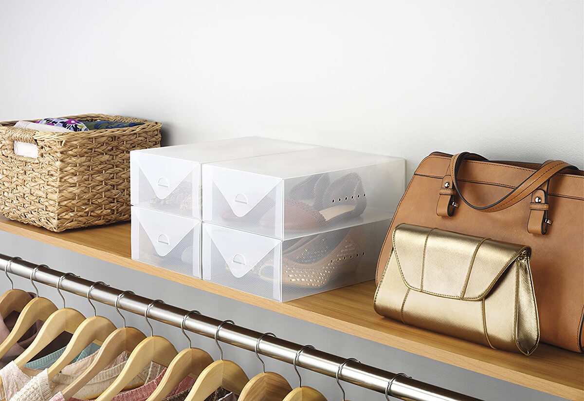 Clear Stackable Shoe Storage Boxes