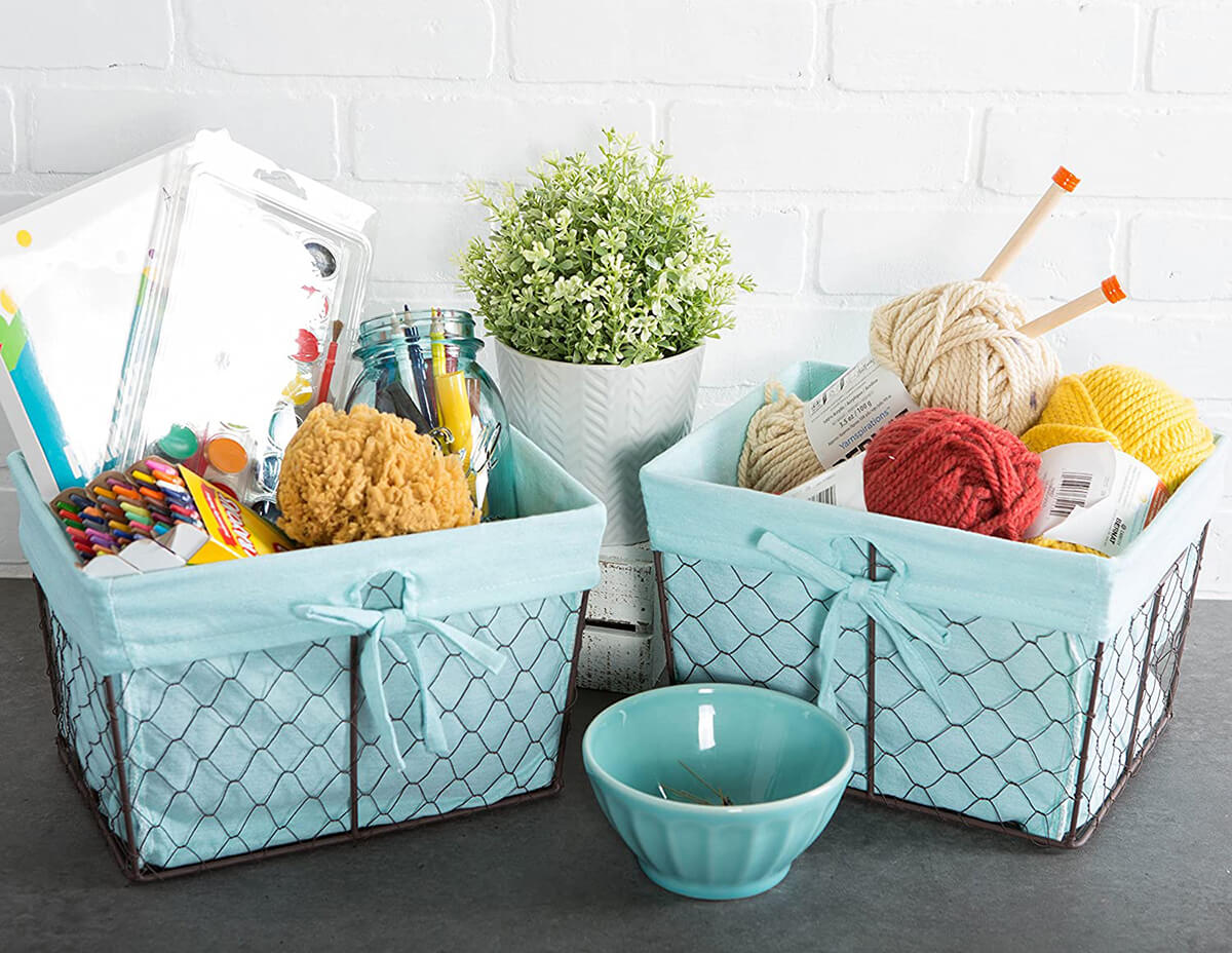 Vintage Chicken Wire Baskets with Removable Liner