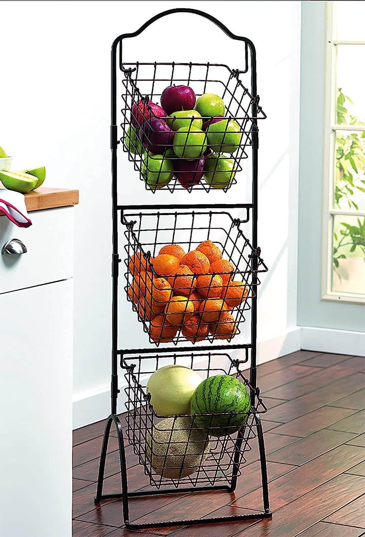 Gourmet Basics 3-Tier Metal Market Basket Stand