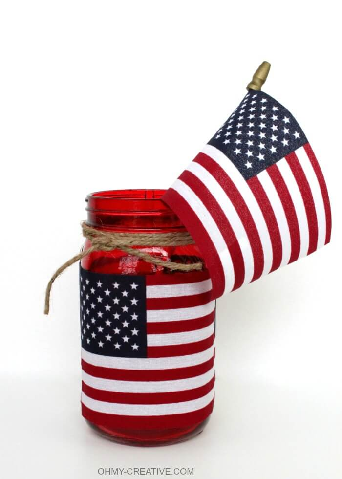 Beautiful American Flag Mason Jar Candle