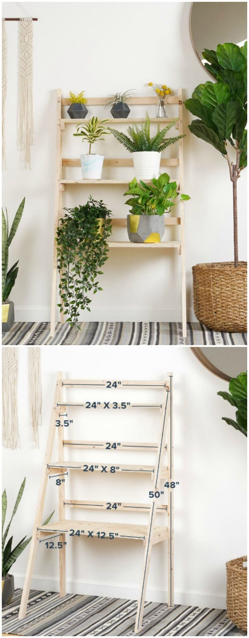 Wooden Step Ladder Shelving Unit