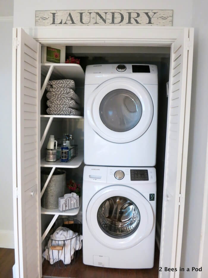 Stackable Washer and Dryer Closet Transformation
