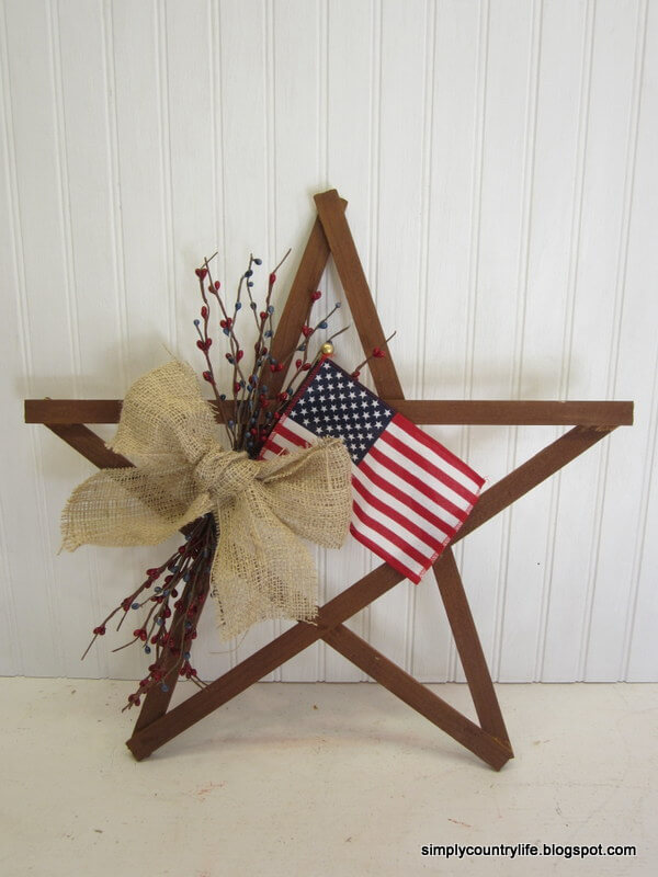 Wooden Star Wreath for July Fourth