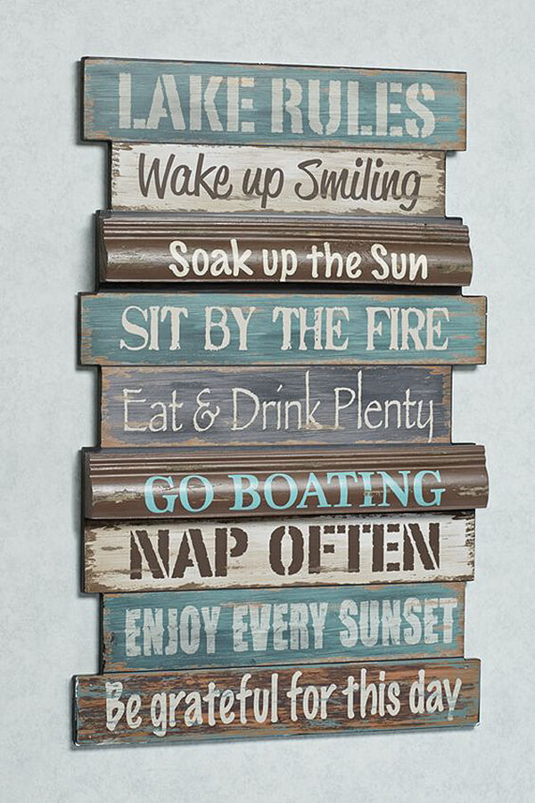 Fun and Feisty Lake House Rules Wall Art Sign