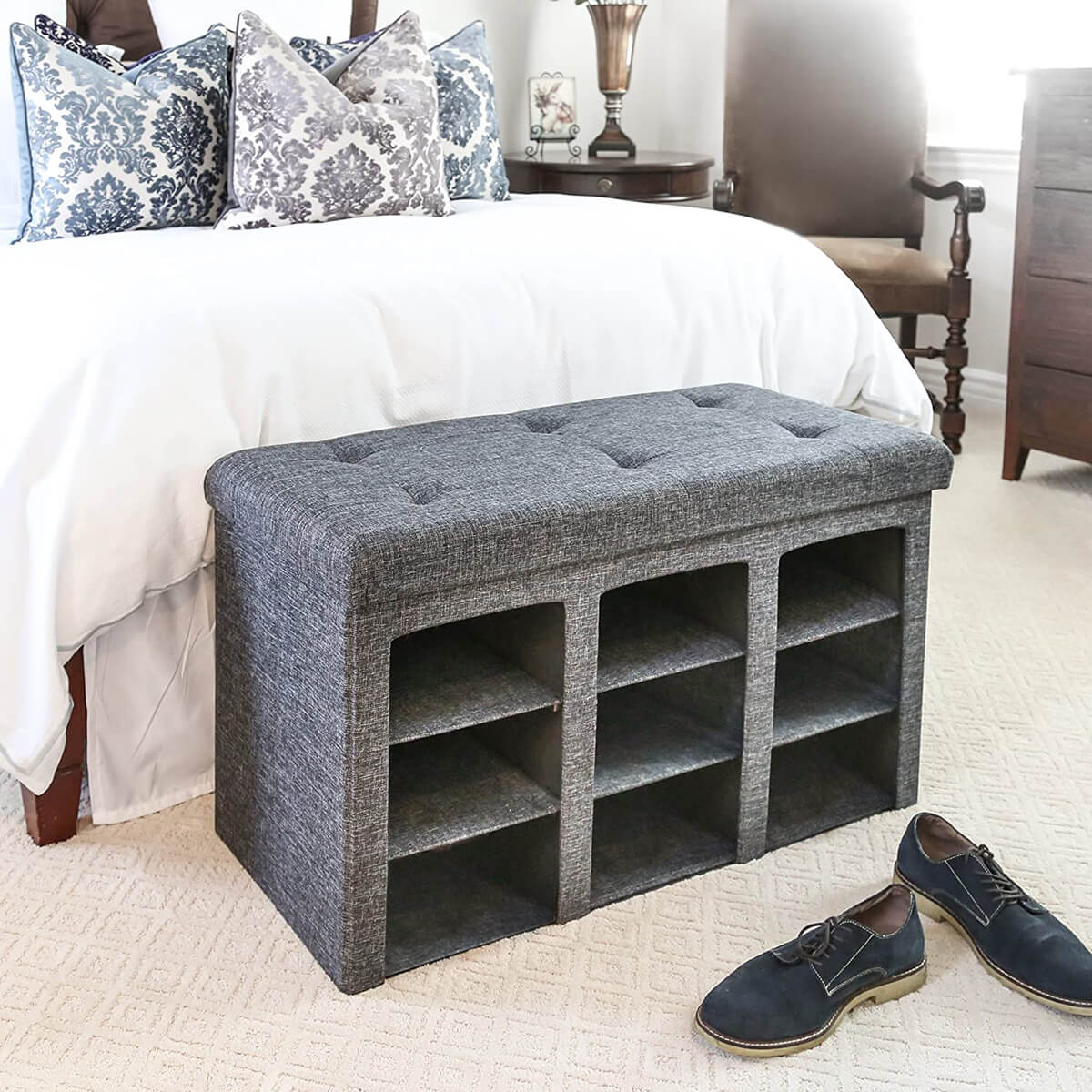 Padded Shoe Storage Bench