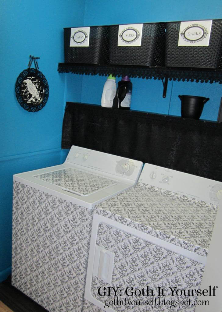 Dark and Moody Laundry Room with Damask Accents