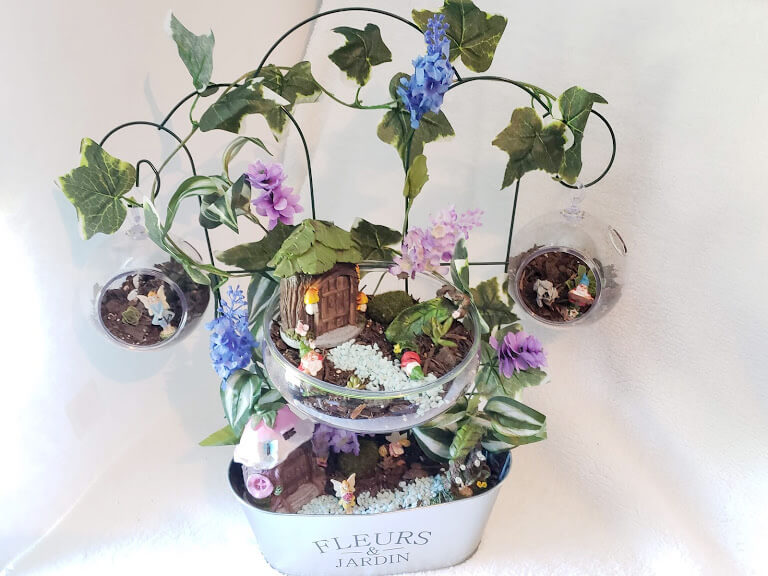 Fairy Garden in Clear Plastic Planters