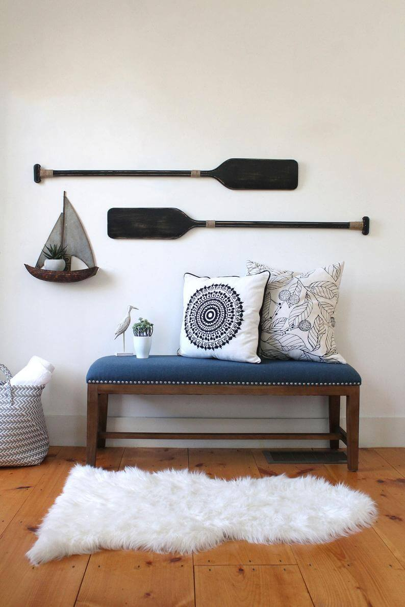 Metal Sailboat Plant Shelf and Beautiful Black Oars Lake House Decor