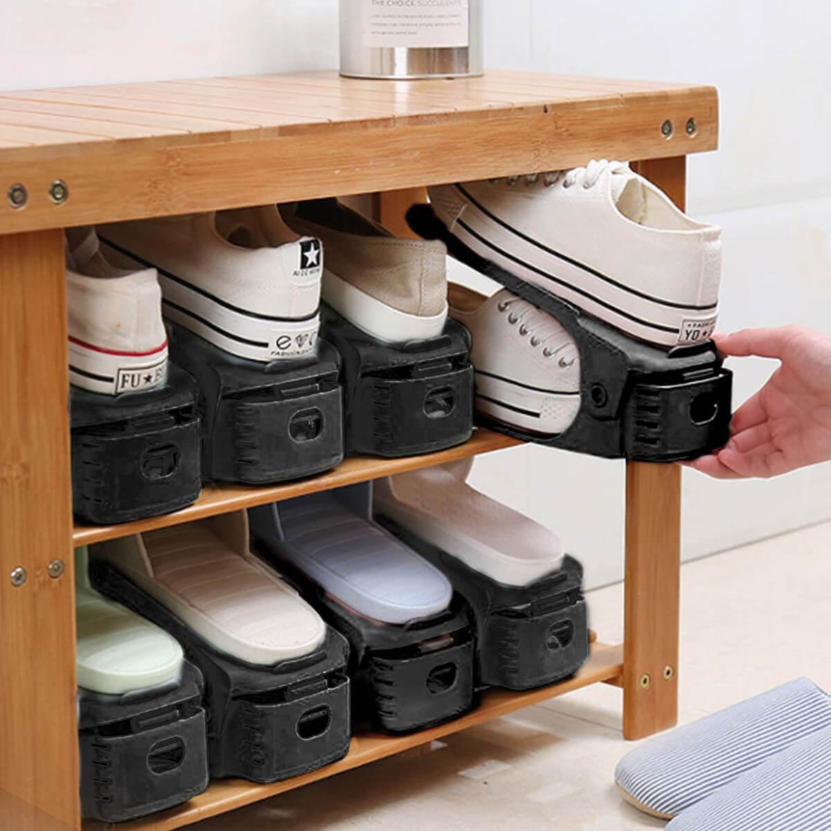 Adjustable Two-Level Shoe Storage Decks