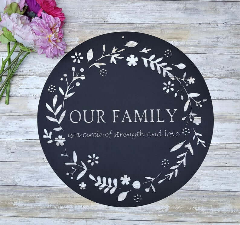Pretty Black Vinyl Family Circle Wall Decal