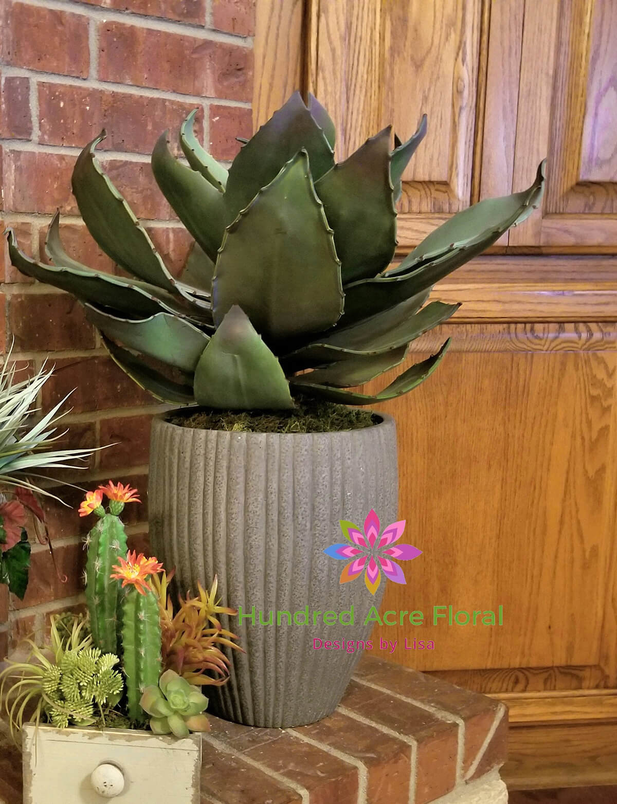 Faux Agave Plant in Cement Planter