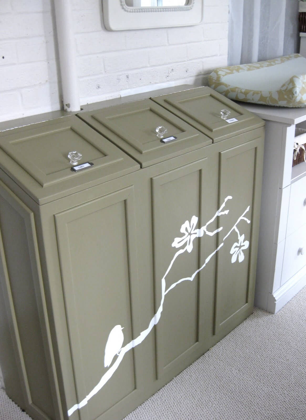 Decorative Laundry Chute Sorting Cabinet