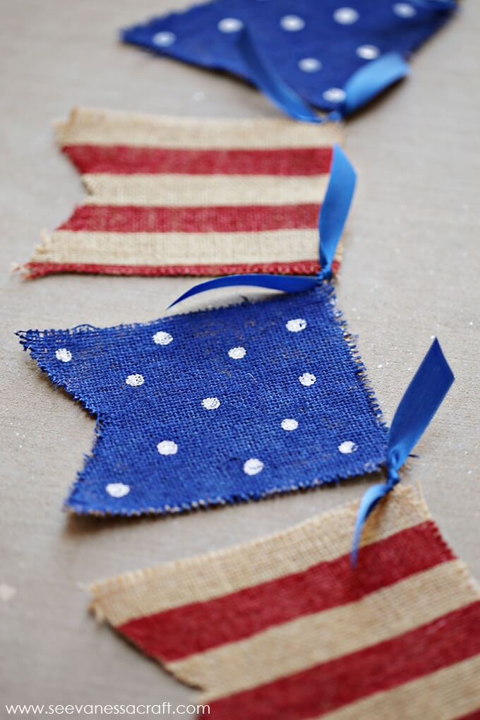 Charming Burlap Stars and Stripes Banner