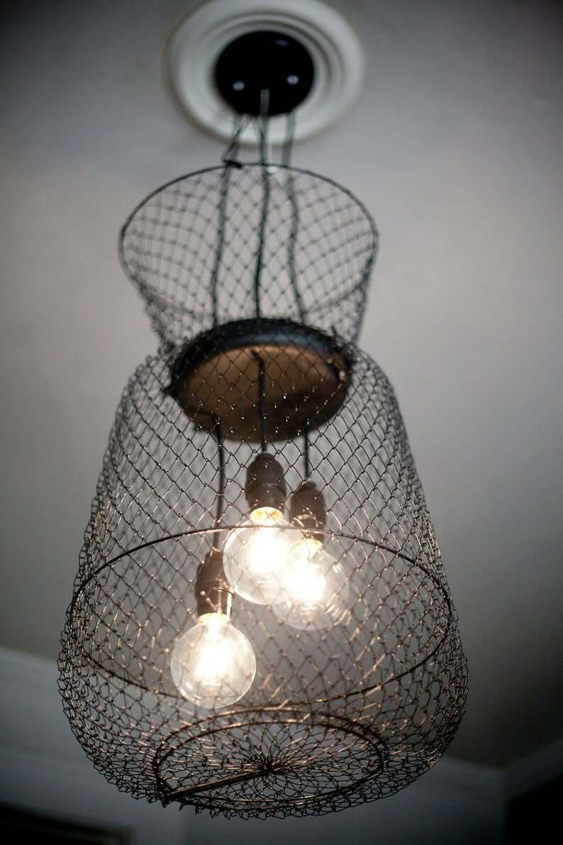 Black Metal Collapsible Lobster Cage Repurposed Pendant Light Fixture