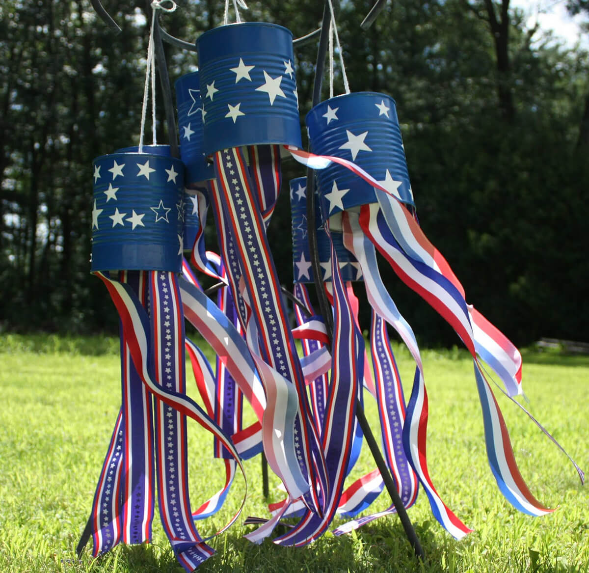 Tin Can Wind Socks as DIY Rustic 4th of July Decorations