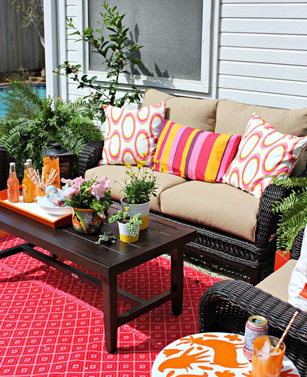 Colorful Backyard Seating for Added Fun