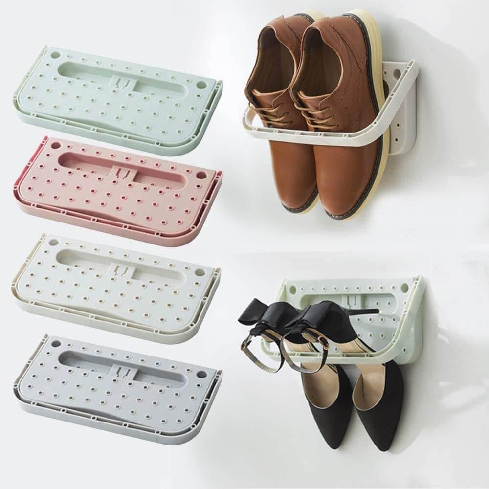 Plastic Wall-Mounted Fold-Out Shoe Racks
