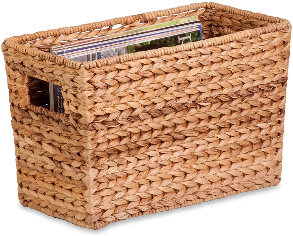 Stylish Woven Water Hyacinth Magazine Storage Basket
