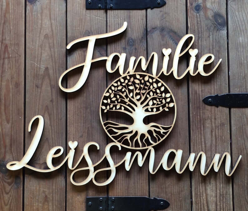 Laser Cut Wooden Family Tree Sign