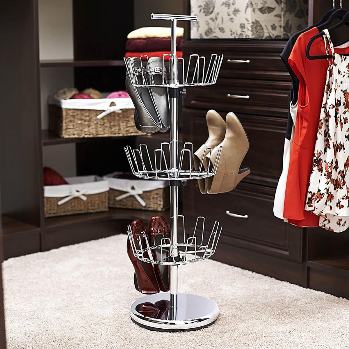 Revolving Rack for Vertical Shoe Storage