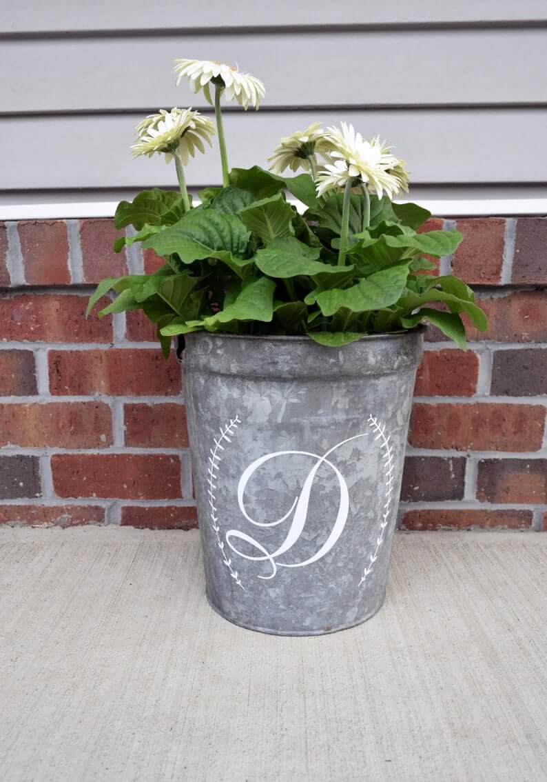 Galvanized Bucket Planter with Personalized Monogram