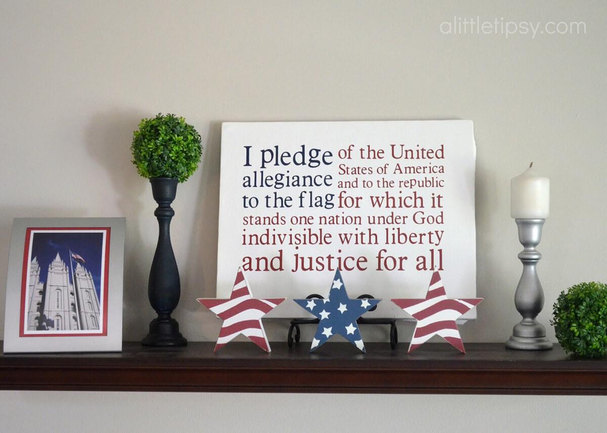Pledge of Allegiance Typographic Flag