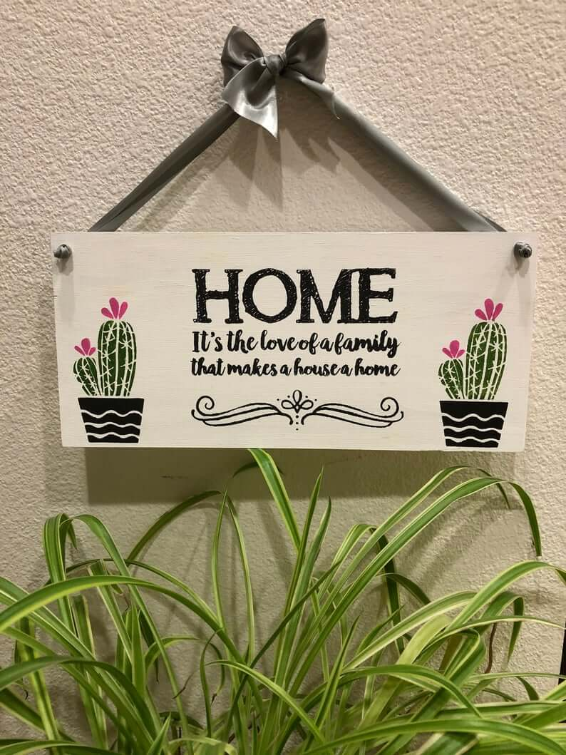 Cute Cactus Love of Family Makes a Home Sign